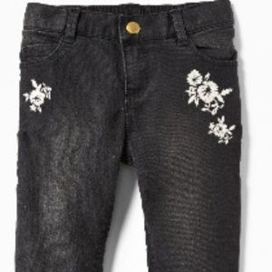 Floral Embroided Ballerina Black Jeans